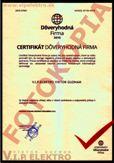 Certifikát Dôveryhodná firma 2015
